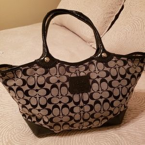 Coach Bleeker Tote- Signature Black Jacquard